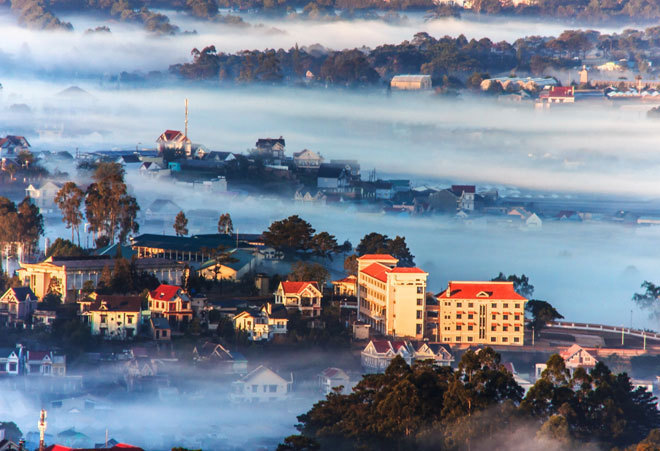 Da Lat in a foggy morning
